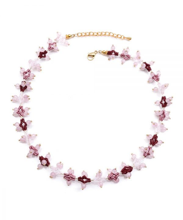 Collier ethnique femme d'inspiration zoulou en quartz rose